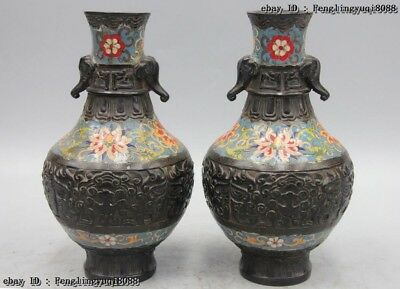 Chinese Royal Bronze Copper Cloisonne Enamel Elephant Flower Vase pot Jar Pair