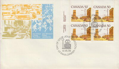 Canada #723 50¢ Street Definitives Ul Plate Block First Day Cover