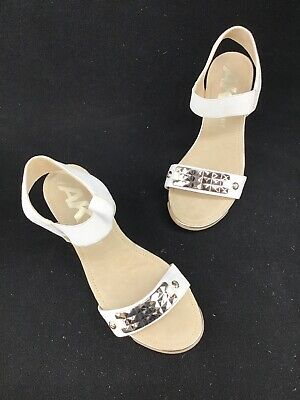 faccc4d89f Anne Klein Sport Latasha White Embellished Wedge Sandals Size 7.5M A3338 OOS