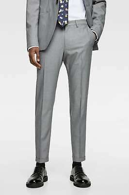 b08fea04 NWT ZARA MAN Light Grey Cropped Slim fit chino suit trousers pants 31 X 27  $49