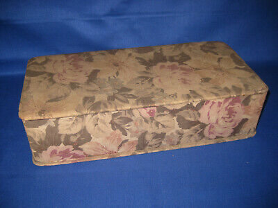 French Antique 1920s Boudoir Box Floral Upholstery Fabric Glove, Jewelery Box