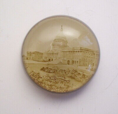 Antique Glass Dome U.S. Capitol Building Washington DC Paperweight 3 Inches