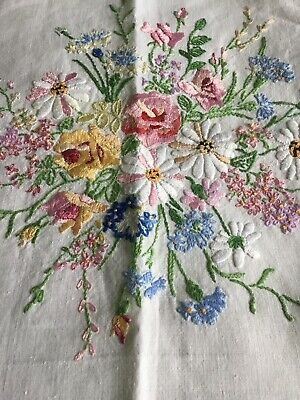Exquisite Hand Embroidered Irish Linen Tablecloth