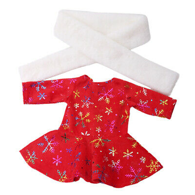 Fashion 18Inch Girl Doll Clothes Set Accessory -Red Dress and White Scarf