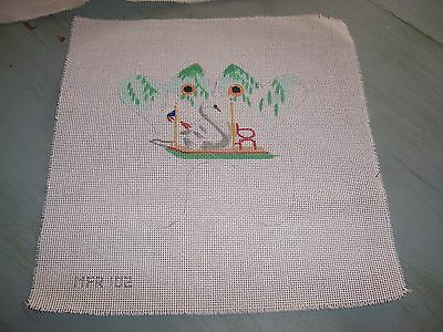 Hand Painted Needlepoint Canvas White Swan with over hanging willow trees  bench