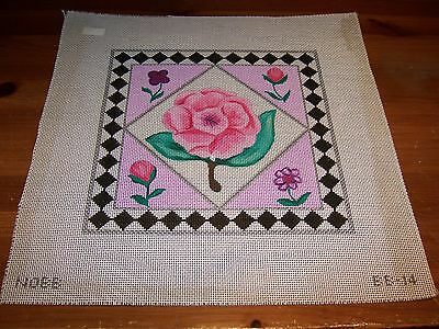 Hand Painted Needlepoint Canvas Chic Shabby Pink Cabbage Rose Floral Border