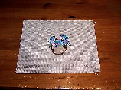 Hand Painted Needlepoint Canvas African Violet in Flower Pot pinks Purples Blue