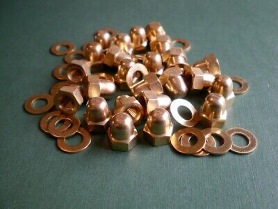 M6 Brass Dome Nuts and Washers Pk of 24 for instruments or steampunk