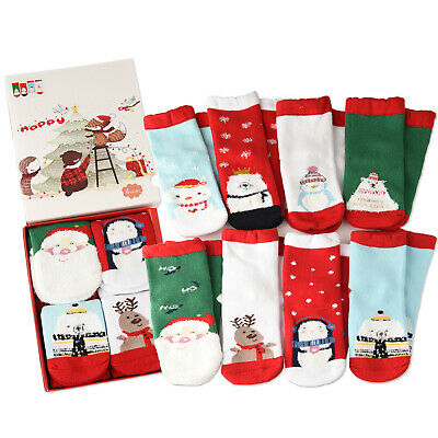 4Pack Cotton Christmas Holiday Novelty Ankle Socks Toddlers Boys Girls Kids