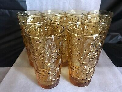 "LOT OF 9 VINTAGE 12 OZ AMBER COLOR LIDO MILANO GLASS TUMBLER 5 1/2"" Tall"