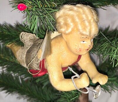 Antique German Wax Over Composition Angel Ornament With Horn