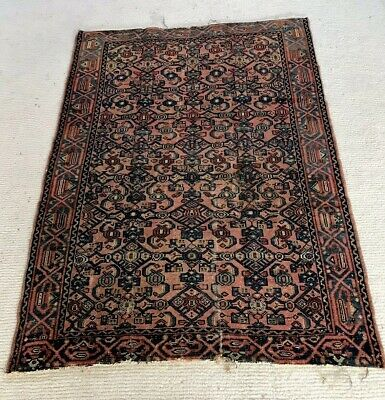 ⭕️ ON SALE Early 20th C. or Late 19th C. Authentic Persian Rug Small Blue & Red.