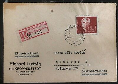 1959 Kroppenstedt East Germany DDR Registered Cover To Liberec Czechoslovakia