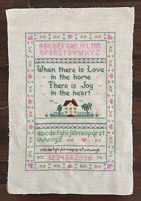 VINTAGE Competed CROSS STITCH LOVE IN THE HOME SAMPLER