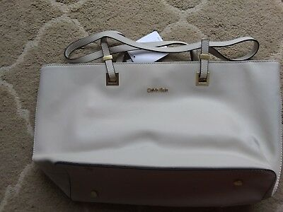 68121f5feb1 Calvin Klein Scarlett Saffiano Leather Cream/Off White Shopper Tote Bag