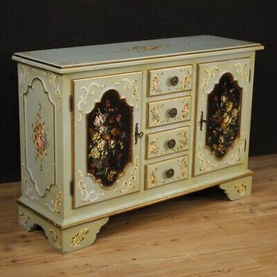 Cupboard Italian Mobile Dresser Lacquered Wooden Painted Gold Antique Style 2