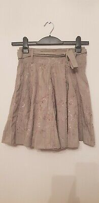Girls NEXT flower Khaki Green Embroidered Skirt Age 8 Years Bnwot