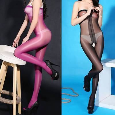 Women Body Stockings Female Open Crotch Oil Shiny Glossy Sexy Pantyhose Lingerie