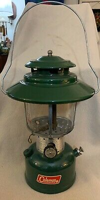 Vintage Coleman Lantern 228F Green with Gold Clamshell Case Funnel & 2 Mantles