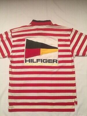 62bc2e83 Vintage Tommy Hilfiger Spell Out Flag Red Stripe Sailing Gear Polo Shirt XL