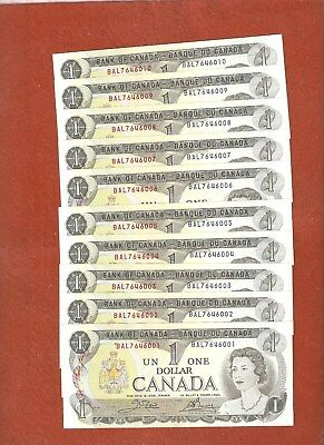10 1973 Consecutive Serial Number One Dollar Bank Notes Gem Uncirculated L982