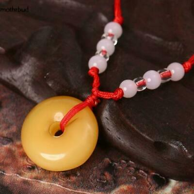 Women Artificial Jade Round Pendant Red Rope Necklace Fashion Jewelry