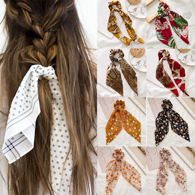 BOHO Flower Leopard Print Scrunchie Ribbon Elastic Hair Band Bow Scarf Hair Rope