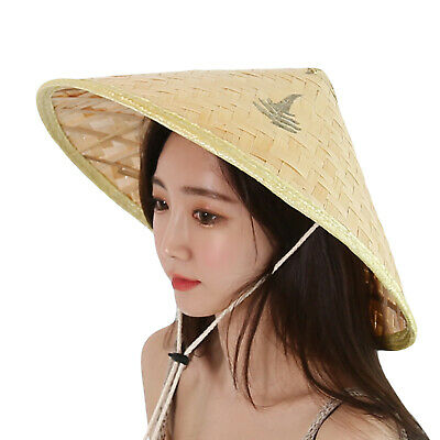6a7928b130e498 WITHMOONS Chinese Oriental Bamboo Straw Cone Garden Fishing Hat QZ90043