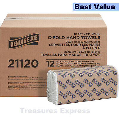 """Genuine Joe C-Fold Paper Towels 1 Ply 13"""" x 10"""" Absorbent White 2400 Towels"""