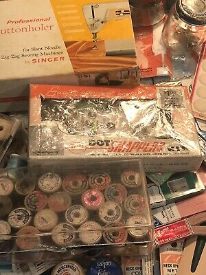 STASH LOT O' Vintage NOTIONS&FINDINGS SEWING Lace Thread Spools Trim NOS NEW