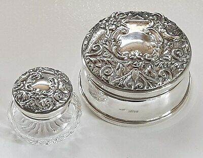 SILVER 2 x DRESSING TABLE / SEWING PIECES - PIN CUSHION - BIRMINGHAM HALL MARKED