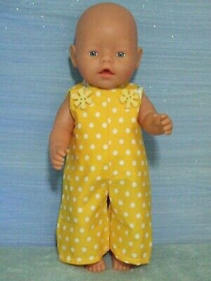 42cm BABY BORN Dolls Clothes / OVERALLS~SHIRT / yellow apples ~ spots