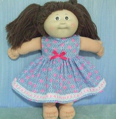 """16"""" CABBAGE PATCH Dolls Clothes / DRESS / Blue ~ hot pink flowers"""