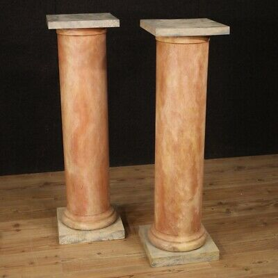 Columns French furniture pair of side tables in lacquered wood antique style