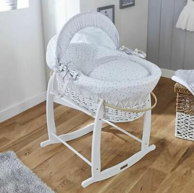 Claire De Lune Grey White Stars & Stripes White Wicker Moses Basket Only 84cm H