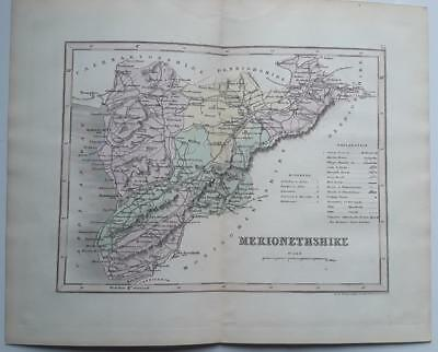c1850; Merionethshire, Wales; Coloured Victorian County Map; Dugdale/Archer