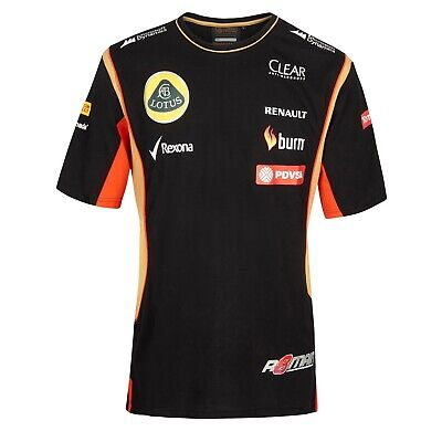T-SHIRT Tee Mens Formula One 1 Lotus F1 Team NEW! Burn Grosjean Black 2013