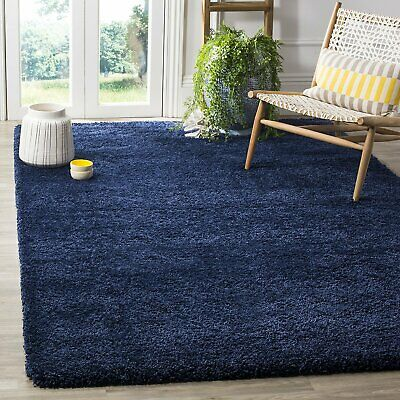 Soft Shaggy Plain Thick High Pile 5cm Dense Rug Navy Blue Size 230x160cm Large