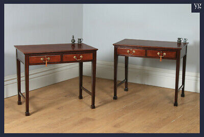 Antique Pair 20th Century Georgian Style Mahogany Occasional Side Hall Tables