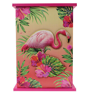 Wooden Flamingo Tropical Key Box Wall Mounted 6 Keys Storage Holder Cabinet Rack