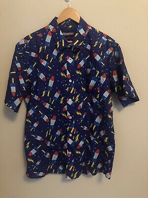 e7ac1283 Tipsy Elves Mens Button Down USA Popsicles Graphic Short Sleeve Shirt Size  XL