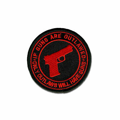 Tactical Combat Military Morale Patch Badge Hook & Loop - If Guns R Outlawed Red