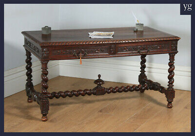 Antique French Provincial Carved Green Man Oak Office Library Desk Writing Table