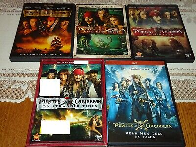 Pirates of the Caribbean 1 2 3 4 5 COMPLETE 7 DVD Widescreen Set, Johnny Depp