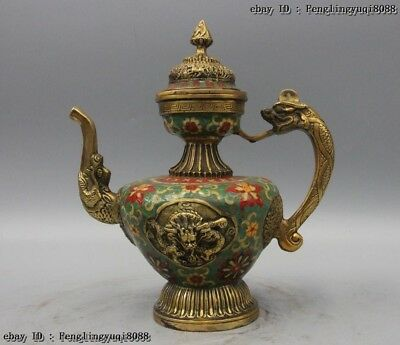 11 Chinese Bronze Cloisonne Dragon Foo Dog Lion Beast Kettle Wine TeaPot Flagon