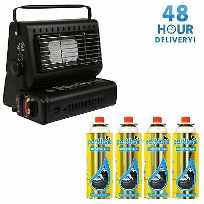 Portable Gas Heater Camping Caravan Outdoor Fishing Butane With 4 Gas Canisters