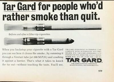 1968 Tar Gard Cigarette Filter PRINT AD For People Who'd Rather Smoke Than Quit