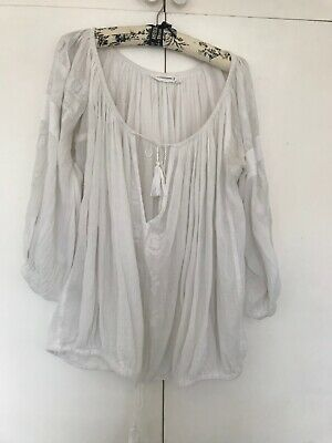 2984f061b606d0 ETOILE ISABEL MARANT Vinny Vince White & Blue Embroidered Top Blouse ...