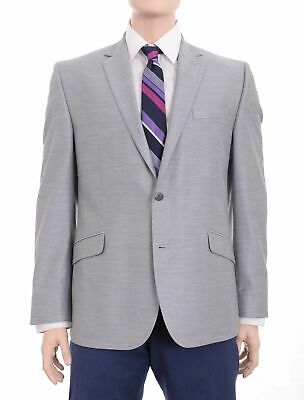 Mens 46L Kenneth Cole Ny Slim Fit Light Gray Textured Two Button Blazer Sport...