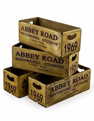 Individual Vintage Style Abbey Road Display Storage Container Crate Wood Box